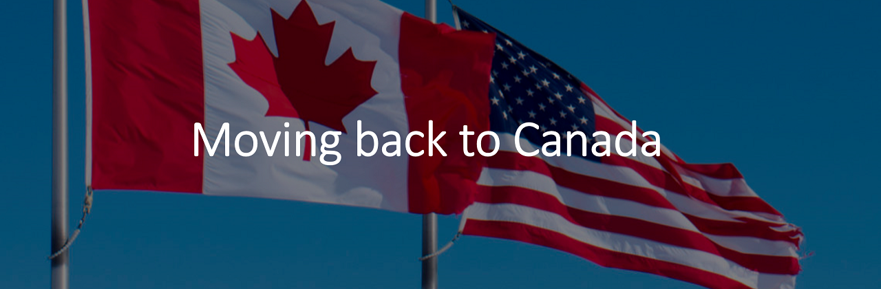 "US and Canada flags flying in the sky, with caption: ""Moving back to Canada"""